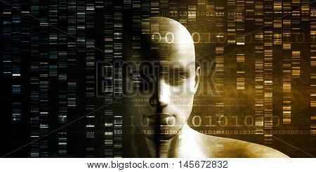 Medical Technology with Scientist Engineer on DNA Background 3d Render
