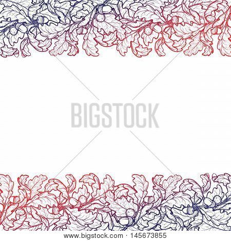 Fall Festival frame or border. Greeting card, flyer or poster template. Sketch style autumn leaves isolated on white background. Elaborate hand drawing. Vintage design. EPS10 vector illustration.