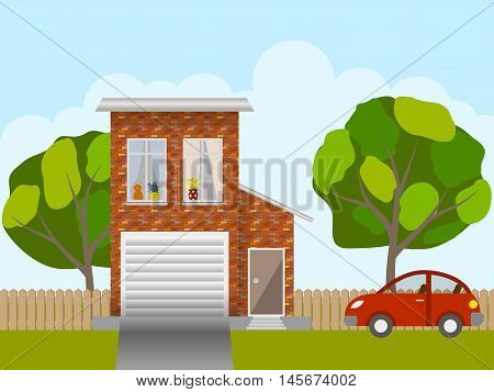 Front of the house, the trees in the yard and the car, lifestyle scene. Vector illustration