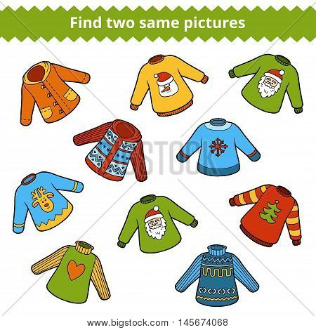 Find the same pictures education game for children. Set of sweaters