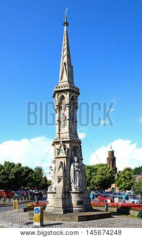 BANBURY, UNITED KINGDOM - JULY 20, 2016 - View of the Banbury Cross in the town centre Banbury Oxfordshire England UK Western Europe, July 20, 2016.