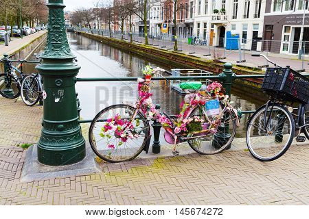 Hague, Netherlands - April 5, 2016: City street and canal view with colorful decorated bicycle and flowers in Hague, Holland