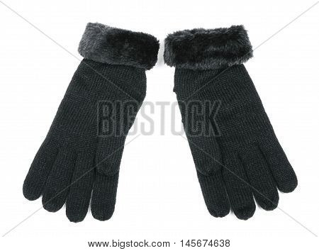 Black wool gloves isolated on white background