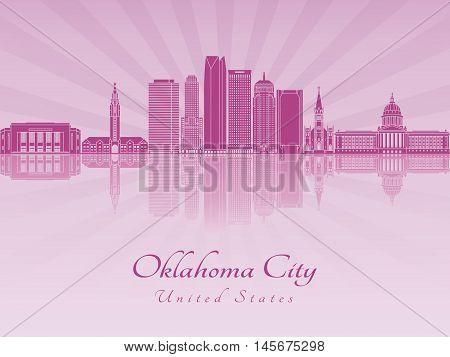 Oklahoma City V2 skyline in purple radiant orchid in editable vector file
