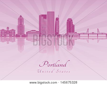 Portland V2 skyline in purple radiant orchid in editable vector file