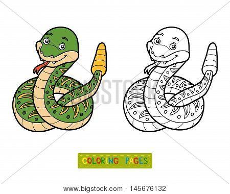 Coloring book for children, vector animal Rattlesnake