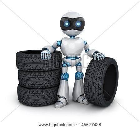 Modern robot and tire car (done in 3d rendering)