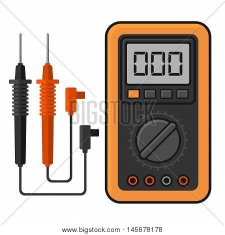 Digital multimeter. Electrical Measuring Instrument Voltage Amperage Ohmmeter and Power. Vector Illustration