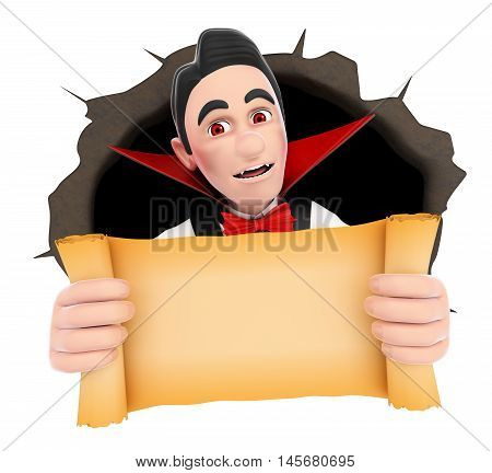 3d halloween people illustration. Funny monster. Vampire coming out a wall hole with a blank papyrus. Isolated white background.
