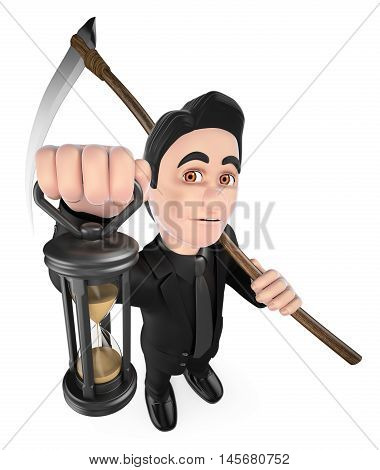 3d halloween people illustration. Funny monster. The Grim Reaper. Isolated white background.