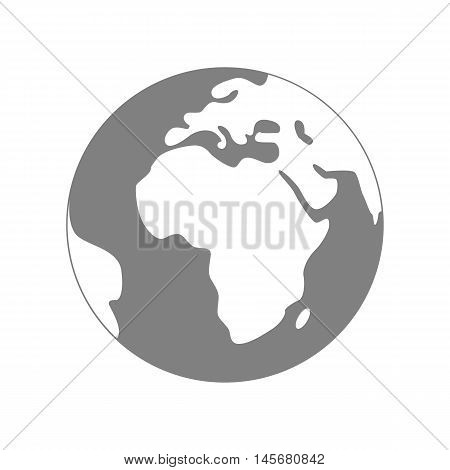 Isolated planet Earth on white background. Simple flat world globe icon in grey and white colors. Travel around the world.