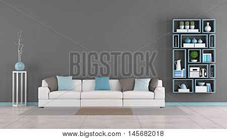 Contemporary Living Room With Couch And Bookcase