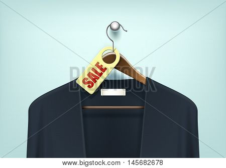Vector Clothes Coat Brown Wooden Hanger with Blue Black Sweater Cardigan Jumper with Sale Blank Tag Label Close Up Isolated on Background