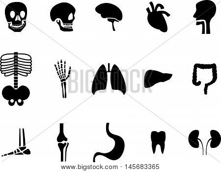 Abstract graphic set of viscera black icon