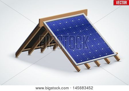 Icon of Roof with Solar Panel Cover. Industrial building design. Vector Illustration isolated on white background.
