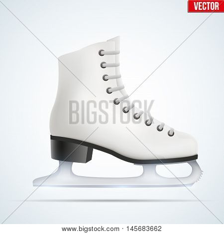 White classic ice figure skates. Sport equipment. Side view. Vector Illustration isolated on white background.