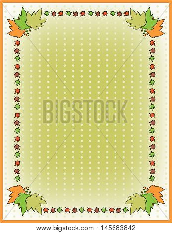 Autumn background with colorful leaves and dots