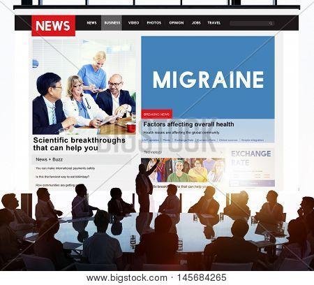 Migraine Symptoms Diagnosis Disturbed Vision Concept