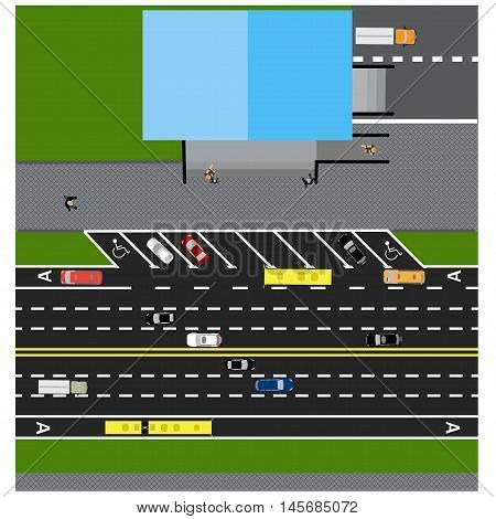 Plot road, highway, street, with the store. With different cars. Congestion and parking cards. Top view of the highway. Vector illustration