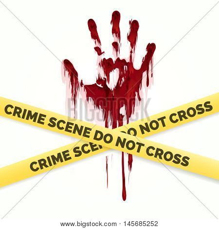 Bloody handprint and police crime scene scotch vector isolated on white background