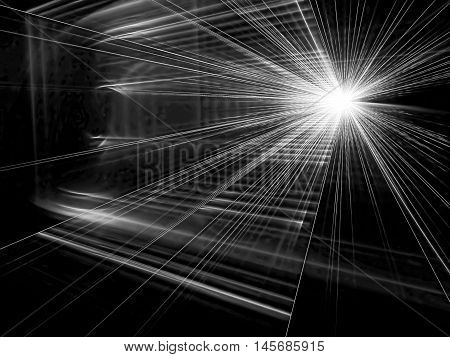 Abstract trendy tech background - computer-generated image. Fractal art: diverging from a point and  falling on the screen light rays. Modern backdrop for technology and industrial design.