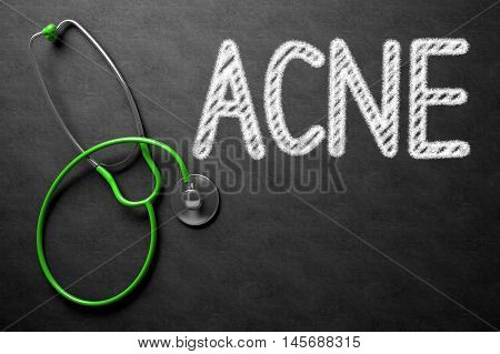 Black Chalkboard with Acne - Medical Concept. Medical Concept: Acne - Medical Concept on Black Chalkboard. 3D Rendering.