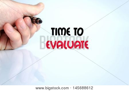 Time to evaluate text concept isolated over white background