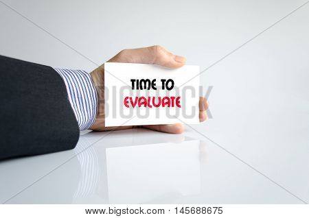 Time to evaluate text concept isolated over white background poster