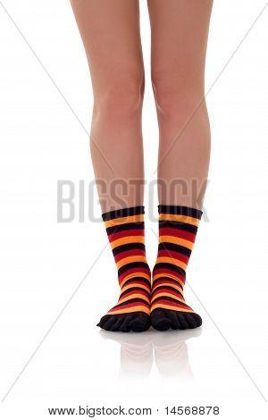 Woman Legs In Zebrine Socks