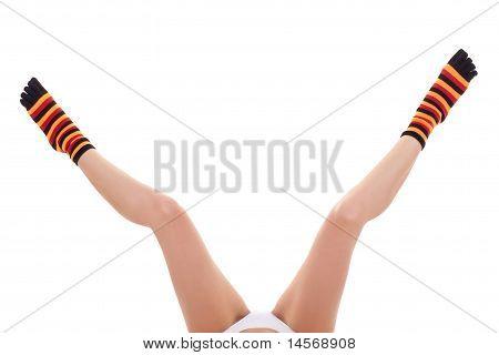 Woman's Open Legs Wearing Zebrine Socks