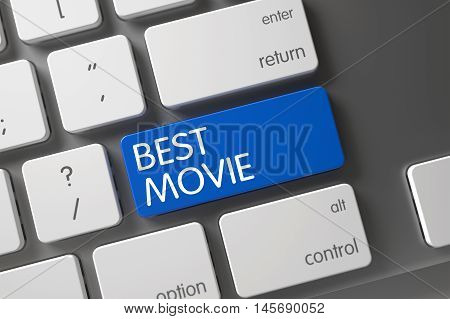 Best Movie Concept: Metallic Keyboard with Best Movie, Selected Focus on Blue Enter Key. 3D Illustration.