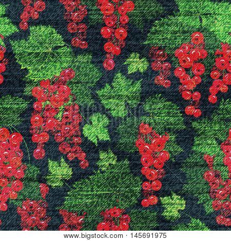 Vector Denim floral seamless pattern. Jeans background with red currant. Blue jeans cloth background whith red green berries.