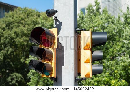 Traffic light with buzzer for walkway of the blind
