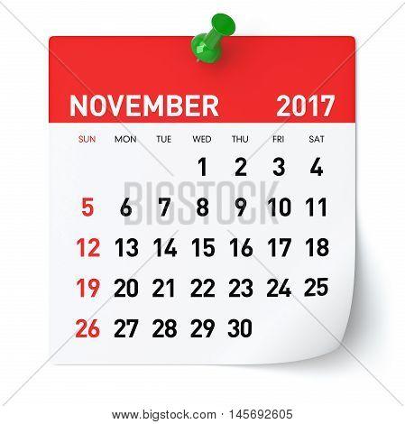 November 2017 - Calendar