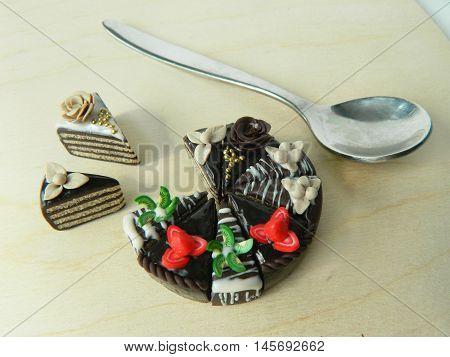 Miniature Polymer Clay Strawberry And Kiwi Cake