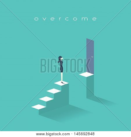 Business woman standing on top of stairs. Symbol of businesswoman challenges, obstacles and barriers in career, corporate ladder growth. Eps10 vector illustration.
