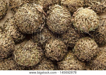 Organic dry White Akarkara Seeds (Anacyclus Pyrethrum). Macro close up background texture. Top view.