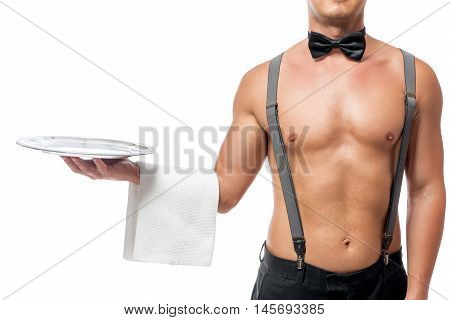 Empty Tray Stripper In The Hands, Isolated