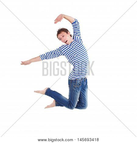 joyful guy leaped high isolated on white background. happy guy jumping and smiling. mid-air.