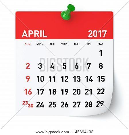 April 2017 - Calendar