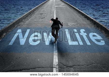 New Life message on road and business man