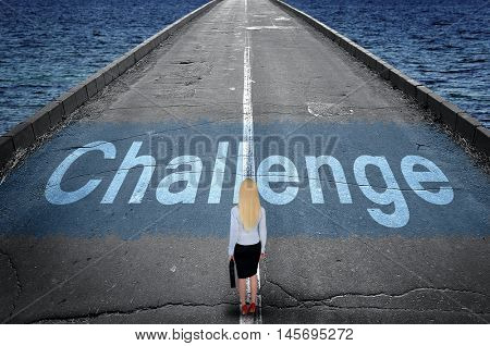 Challenge message on road and business woman