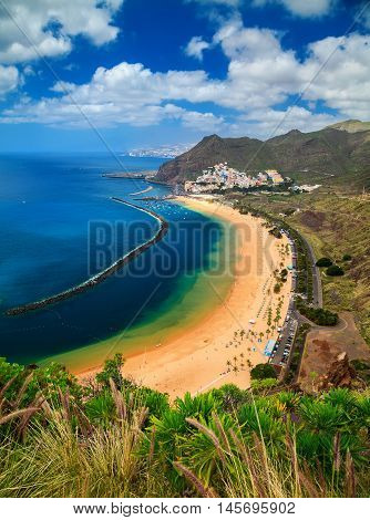 outstanding view of the beach Playa de Las Teresitas Canary Islands Spain