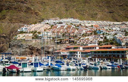 Los Gigantes with its small houses and port by the Atlantic ocean in Tenerife Spain