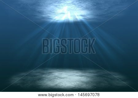 scene of a beautiful under water world with sunrays, under lagoon, under the sea, illustration