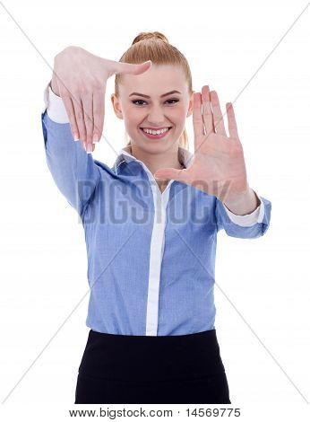 Business Woman Showing Framing Hand Gesture