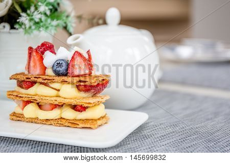Mille Feuille With Tea Set