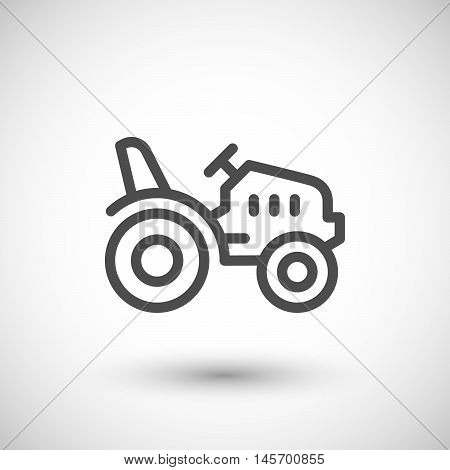Mini tractor line icon isolated on grey. Vector illustration