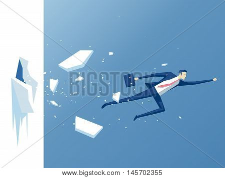 businessman breaks the wall employee flies through the wall or barrier business concept effort and success