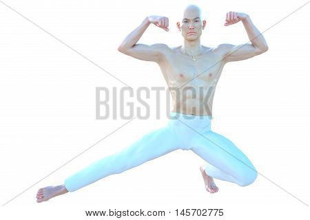 One muscular and bald Asian male. He was half sitting on one foot and shows his muscles on the hands. 3D rendering, 3D illustration